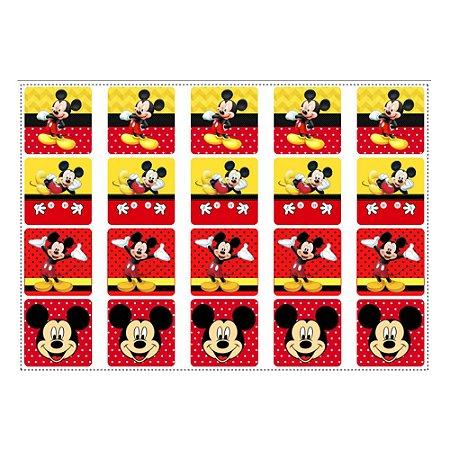 20 Adesivos Mickey para Lembrancinha Quadrado 4,7cm