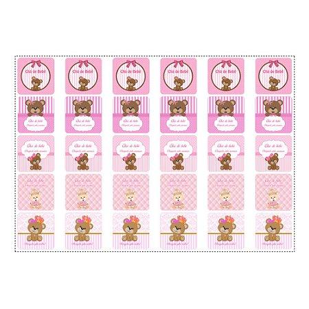 30 Adesivos Chá de Bebê Rosa Quadrado 3,7cm