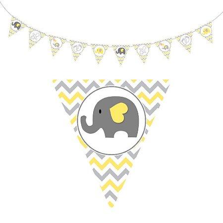 10 Bandeirolas Triangular Chá de Bebê Amarelo