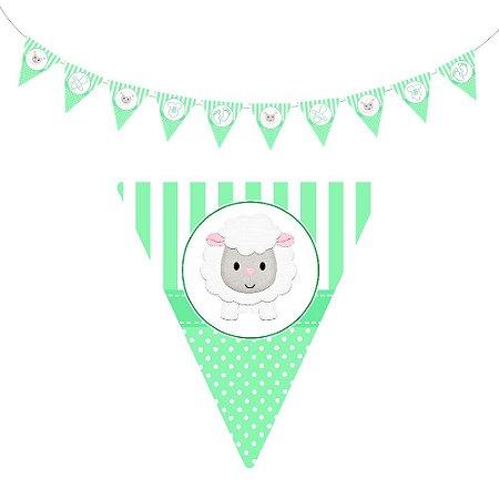 10 Bandeirolas Triangular Chá de Bebê Verde