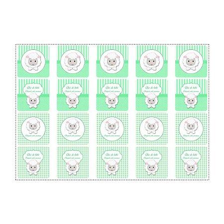 20 Adesivos Chá de Bebê Verde Quadrado 4,7cm