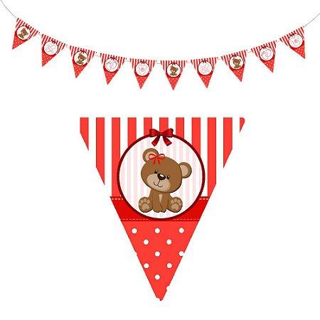 10 Bandeirolas Triangular Chá de Bebê Vermelho