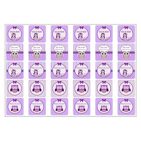 30 Adesivos Chá de Bebê Lilás Quadrado 3,7cm
