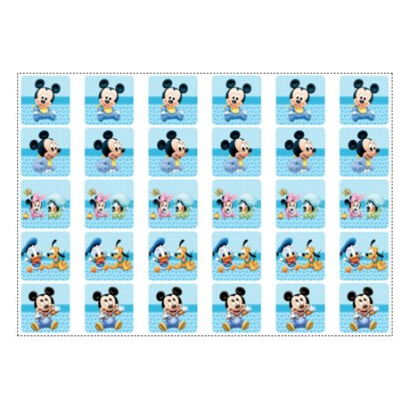 30 Adesivos Mickey Baby para Lembrancinha Quadrado 3,7cm