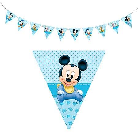 10 Bandeirolas Triangular Mickey Baby