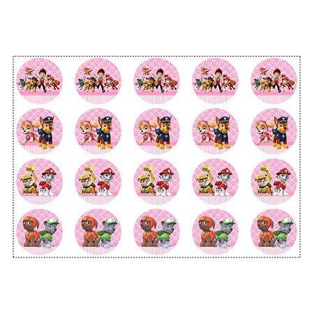 20 Adesivos Patrulha Canina Rosa para Lembrancinha Redondo 4,7cm