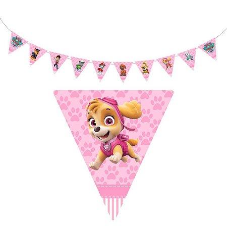 10 Bandeirolas Triangular Patrulha Canina Rosa