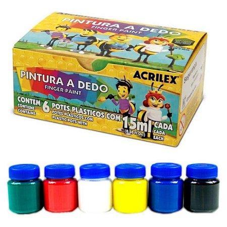 Tinta Pintura a Dedo 6 Cores Acrilex 15ml