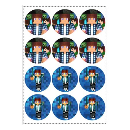 12 Adesivos Authentic Games Minecraft Redondo 6,5cm