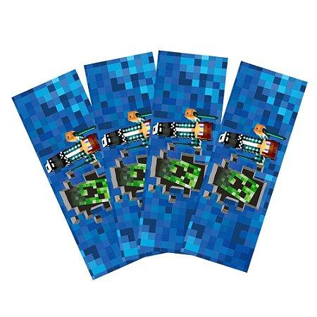 8 Adesivos Authentic Games Minecraft Retangular 20x7cm