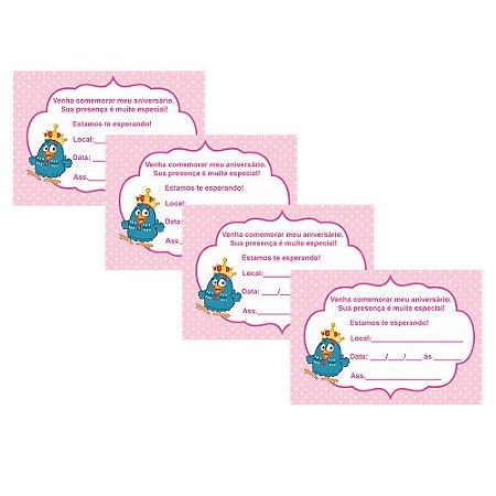 8 Convites Galinha Pintadinha Rosa 7x10cm