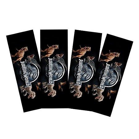 8 Adesivos Jurassic World Retangular 20x7cm