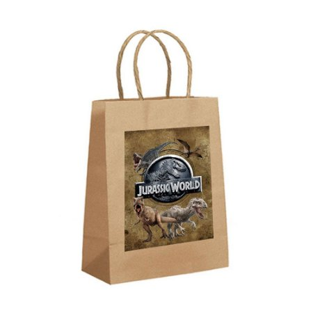 4 Sacolas de Papel Kraft Jurassic World Tamanho P