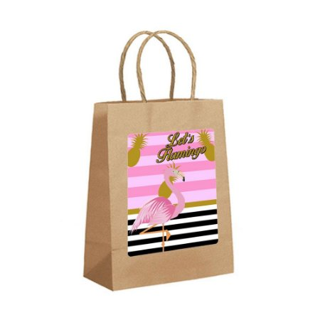 4 Sacolas de Papel Kraft Flamingo Abacaxi Tamanho PP