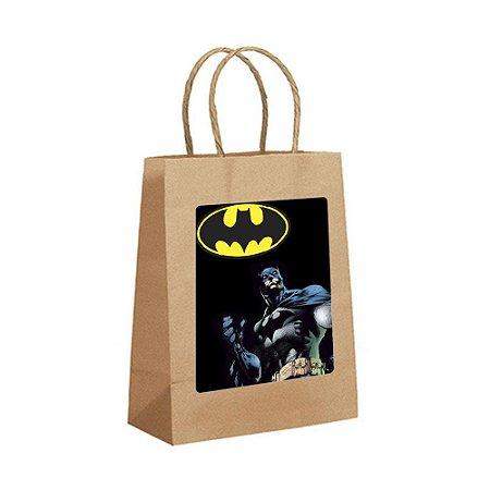 4 Sacolas de Papel Kraft Batman Geek Tamanho P