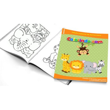 5 Cadernos De Colorir Safari Emporio Das Lembrancinhas Belas Cores