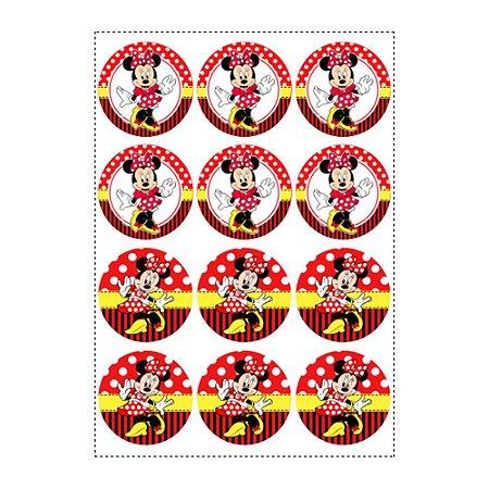 12 Adesivos Minnie Vermelha Redondo 6,5cm