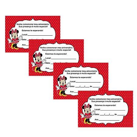 8 Convites Minnie Vermelha 10x15cm