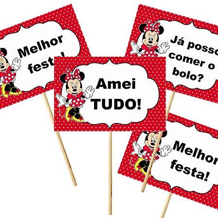 4 Plaquinhas Minnie Vermelha 10x15cm