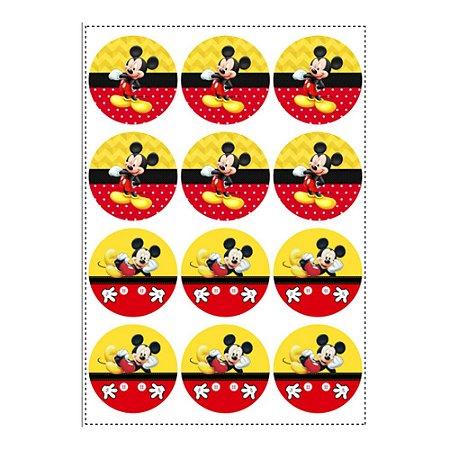 12 Adesivos Mickey Redondo 6,5cm