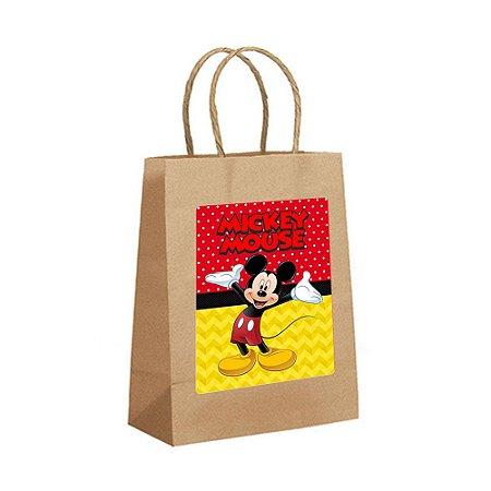 4 Sacolas de Papel Kraft Mickey Tamanho P