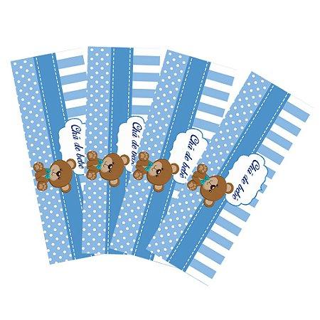 8 Adesivos Chá de Bebê Azul Retangular 20x7cm