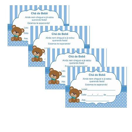 8 Convites Chá de Bebê Azul 7x10cm