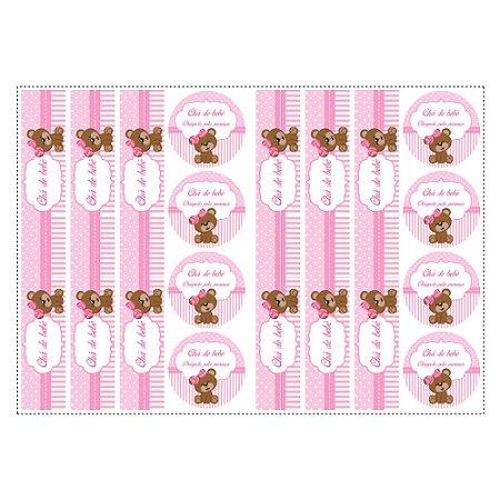 6 Adesivos Chá de Bebê Rosa para Pote de Papinha