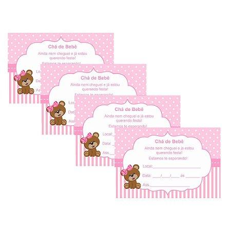 8 Convites Chá de Bebê Rosa 10x15cm