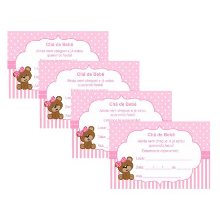 8 Convites Chá de Bebê Rosa 7x10cm