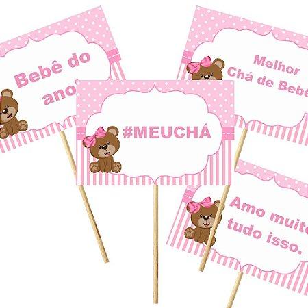 4 Plaquinhas Chá de Bebê Rosa 10x15cm