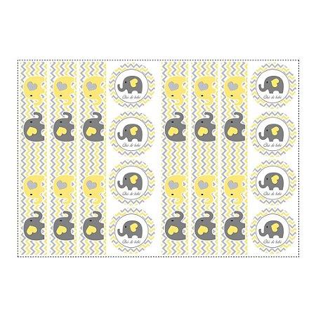 6 Adesivos Chá de Bebê Amarelo para Pote de Papinha