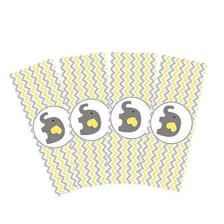 8 Adesivos Chá de Bebê Amarelo Retangular 20x7cm
