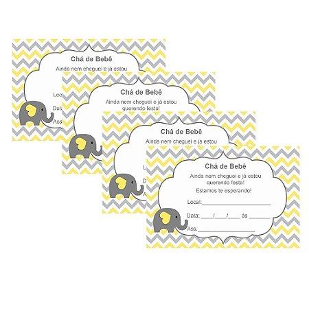 8 Convites Chá de Bebê Amarelo 7x10cm