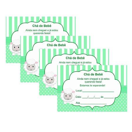8 Convites Chá de Bebê Verde 10x15cm