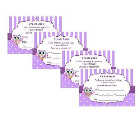 8 Convites Chá de Bebê Lilás 7x10cm