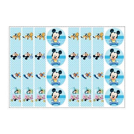 6 Adesivos Mickey Baby para Pote de Papinha
