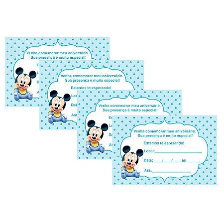 8 Convites Mickey Baby 10x15cm