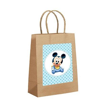 4 Sacolas de Papel Kraft Mickey Baby Tamanho P