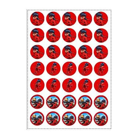 35 Adesivos Ladybug Miraculous Redondo 3,5cm