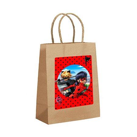 4 Sacolas de Papel Kraft Ladybug Miraculous Tamanho P