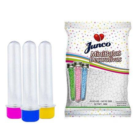 20 Tubetes 12cm tampas plásticas + Balas Sabor Coco Junco 500g