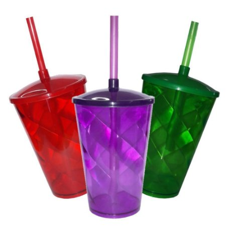 10 Copo Twister com Tampa e Canudo - 500 ml (Escolha a Cor)