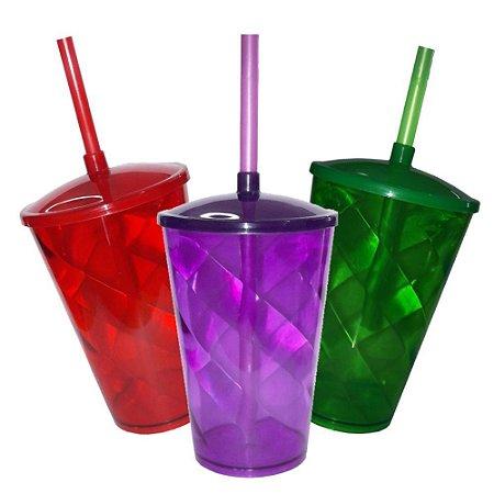 30 Copo Twister com Tampa e Canudo - 500 ml (Escolha a Cor)