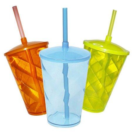 10 Copo Twister NEON com Tampa e Canudo - 500 ml (Escolha Cor)