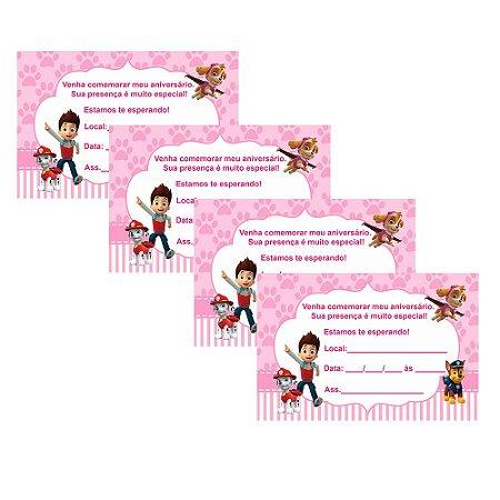 8 Convites Patrulha Canina Rosa 7x10cm
