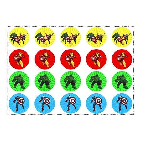 20 Adesivos Vingadores Desenho Redondo 4,7cm