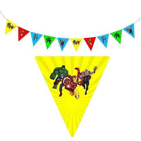 10 Bandeirolas Triangular Vingadores Desenho