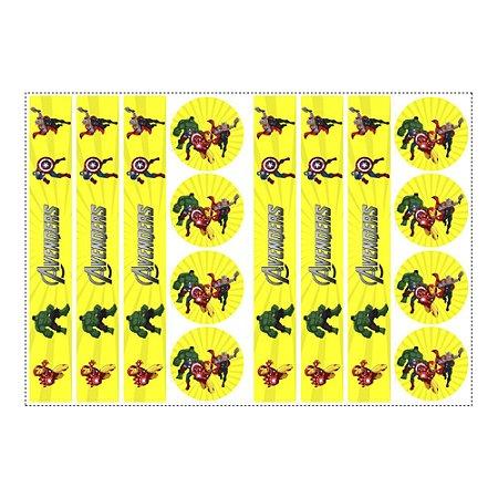 6 Adesivos Vingadores Desenho para Pote de Papinha