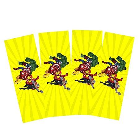 8 Adesivos Vingadores Desenho Retangular 20x7cm
